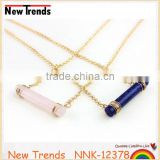 Women's pink natural stone pendant chain necklace quartz pink charm necklace
