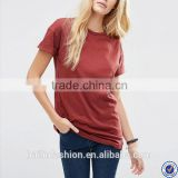 plain red rolled short sleeve longline blank t-shirt women                                                                                                         Supplier's Choice