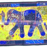 Vintage Fabric patchwork tribal Indian Handmade elephant tapestry wall hanging throw cover