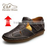 comfortable genuine leather men sandals height incresing men shoe