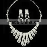 China wholesale silver alloy rhinestone wedding accessories bridal fashion cheap jewelry set