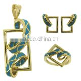 18k enamel gold jewelry pendant set QMH016 wholesale direct manufacturer. high class fashion jewelry set
