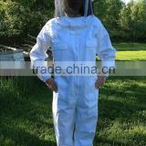 beekeeping equipment 100% cotton bee suit, White color comfortable beekeeping equipment beekeeper protective clothing