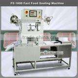 FS-1600 commercail fast food containers sealing machine,tea cup noodles packing machine ,pealrl milk cup packing machine