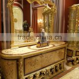 Luxury Golden Buffet With Mirror, Gorgeous Home Decorative Sideboard Inlaid Wood Veneer, Hand Carved Wooden Side Cabinet