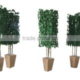 Artificial green potted topiary tree for wholesale