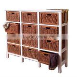 WOOD FRAME CABINET FURNITURE, CHEST WITH WATER HYACINTH DRAWER