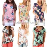 Custom Plus Size USA Women's Floral Print Boutique Summer Casual Short Sleeves Front Side Knot T-Shirts Tops