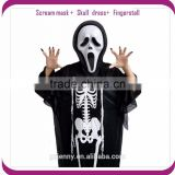 Adult Kids Ghost Skull Skeleton Scream Mask Robe Gloves Halloween Costume