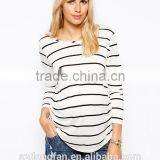 Maternity Pregnancy Woman Clothing With Long Sleeve Stripe Shirt