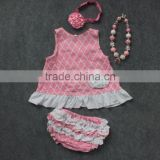 baby girls new kids clothes suit pink grid white flower swing tops swing outfits with matching necklace and headband
