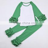 Christmas clothing ruffle green raglan blanks shirts with icing pants outfits clothes sets