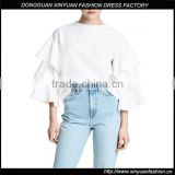 Fashion Women Latest Casual Ruffle Sleeve Shirts Blouse Designs Ladies Plus Size Clothing