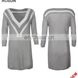 Ladies V-neckline Uniform Pattern Long Knit Dress in Gery