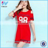 Yihao Sex women Oversized Sports short sleeve Loose Print Midi t shirt dress
