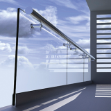 Aluminium U channel glass railing stainless steel handrails design