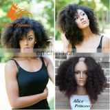 100 Percent Malaysian Hair Afro Kinky U Part Wig Middle U Shape Unprocessed Natural Afro Kinky Curly Human Hair Wig For Black