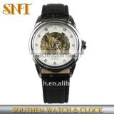 leather band mens' skeleton mechanical watch