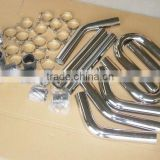 "TURBO INTERCOOLER PIPE 2"" 2.5"" 3"" 3.5"" 4"" CHROME ALUMINUM PIPING+T-CLAMPS+SILICONE HOSES"