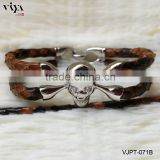 Custom Leather Bracelet Jewelry 100% Stingray/Python Leather Bracelet with Skull Clsap Factory Wholesale Prices Men Bracelet