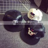 2016 Newest Cartoon Embroidery Man Women Fashion Cool Flat Brim PU Leather Snapback                                                                         Quality Choice