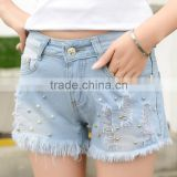 Denim shorts, wear ragged hole three shorts jeans pants with beads