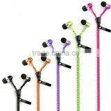 hot sale good quality zipper earphone for mobile phone, wired earphone headphone with volume control, with mic