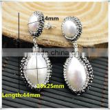 LFD-09E Wholesale Druzy 925 Silver Pave Rhinestone Pearl Stud Earring / Drop Earrings Charms Jewelry Making