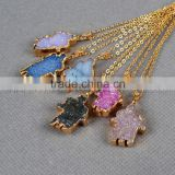Hamsa shape druzy gemstone pendant necklace gold edged jewelry charms