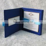INquiry about beautiful dark blue pocket fold wholesale silk hardcover wedding invitations card