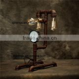Decorative retro vintage loft led lights for tables, industrial antique brass pipe iron 3 lights faucets table lamp