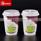Double wall logo printed disposable 12 oz paper coffee cups with lids                                                                         Quality Choice