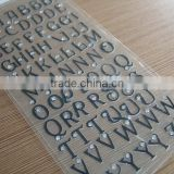 DIY Alphabet letter crystal PVC sticker/3D glitter PVC sticker/custom pvc glitter diamond sticker