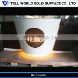 Man made stone glossy coffee bar counters for sale, cafe bar design