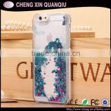[CX]Newest Plastic Hard Back Cover Transparent Bling Flow Quicksand Liquid Glitter Star Case For Samsung S6 Edge Mobile Phone