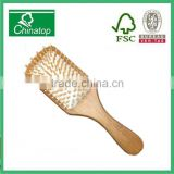 Rectangle shape slender handle White rubber air cushion massage comb brush natural bamboo, hotel style, creative gift,WMC031
