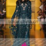 E27 Fashion New Arrival See Through Dark Green O Neck Long Lace Appliques Embroided Tulle Heavy Beaded Evening Dresses
