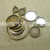 Zinc Alloy Pendant Cabochon Setting Flat Round plated different size for choice more colors for choice lead cadmium free
