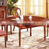 wooden dining table and chairs / dining round table and chair set / wood round chinese dining table