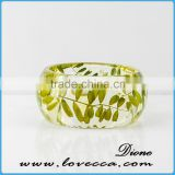 High Transparent Beautiful Pressed Dried Real Flower Clear Resin Bracelets Bangle