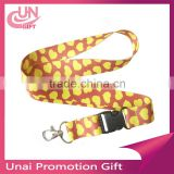 Yellow Hearts Leopard Animal Printed Neck Lanyard Strap Mobile Phone ID Keychain