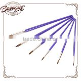 Wholesale High Quality 6Pcs Bulk Student Children Round Nylon Hair Wood Handle Artist Paint Brushes Set