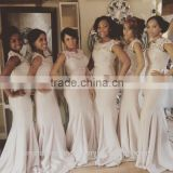 Wholesale Good Quality New Cheap Lace And Beaded formal Long Sheath Mermaid Bridesmaid Dress With SashLB30