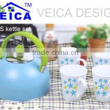 5pcs fancy blue whistling kettle set tea cups light blue coffee mugs with star design
