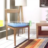 Dining Chair Japanese Style Made From Solid teak Wood , White Wash Color , seater With Denim Fabric