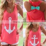 2015 new Fashion Women Summer Anchor print Vest shirts sexy backless Casual Tank Tops free shipping anchor tank with bow