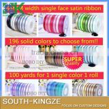 63MM Solid Color single face satin ribbon,196 colors, 100% polyester, free shipping,B2013849