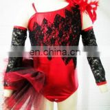 children newest sexy lively black/red ballet dance costumes tutu stage dancewear