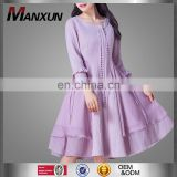 New Design Chineses Style Fancy Vintage Dress Purple Color High Quality Woman Midi Dress