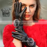 China factory wholesale winter warm real sheepskin soft leather work glove for lady